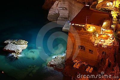 Restaurant on the sea by night