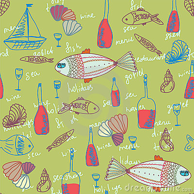 Restaurant seamless pattern with fishes