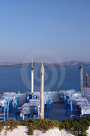 Restaurant setting oia town santorini greece