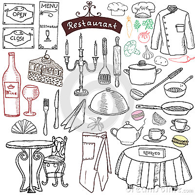 Free Restaurant Sketch Doodles Set. Hand Drawn Elements Food And Drink, Knife, Fork, Menu, Chef Uniform, Wine Bottle, Waiter Apron Draw Stock Photos - 58164283