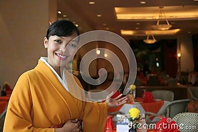 Restaurant staff in kimono