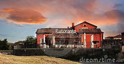 restaurant at sunset