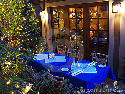 Restaurant tables in Christmas lighting