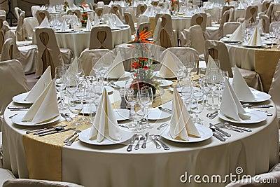Restaurant tables set for business event