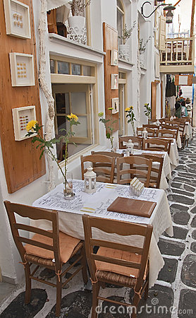 Restaurant with tables on the streets - Greece