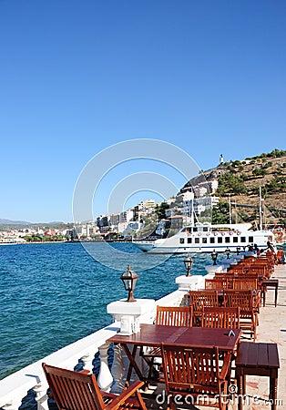Restaurant tables on a terrace in Turkey