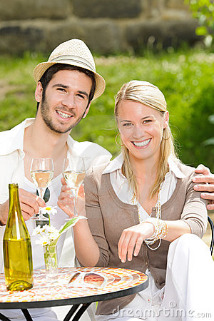Restaurant terrace elegant couple celebrate