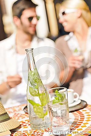 Restaurant terrace italian espresso coffee couple