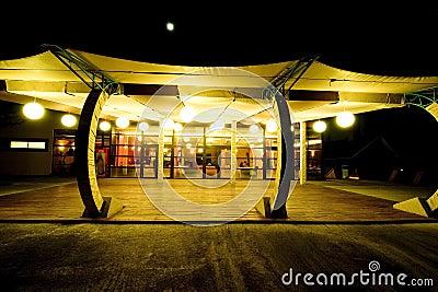 Restaurant terrace at night.