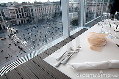 Restaurant with view on Piazza Duomo (Milan, Italy