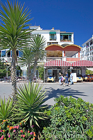 Restaurants and bars in Duquesa port in Southern Spain