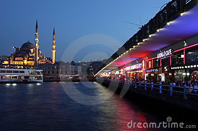 Restaurants at Galata Bridge Editorial Stock Photo