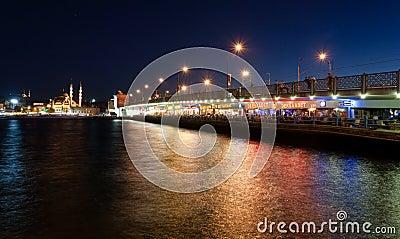 Restaurants at Galata Bridge Editorial Image