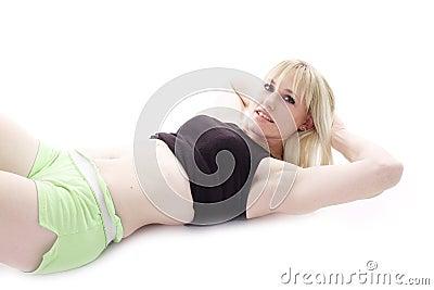 Restful blonde woman