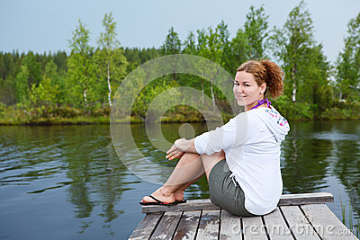 Resting on the edge of lake