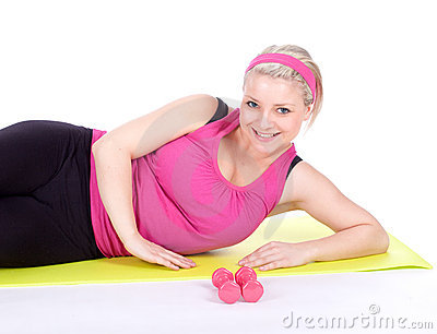 Resting fitness woman