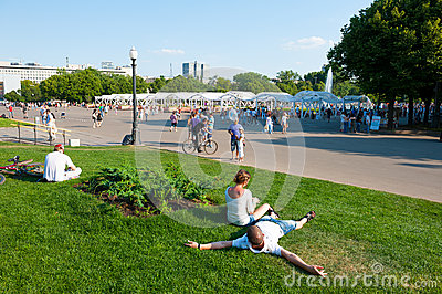 Resting in the Gorky Park Editorial Stock Photo