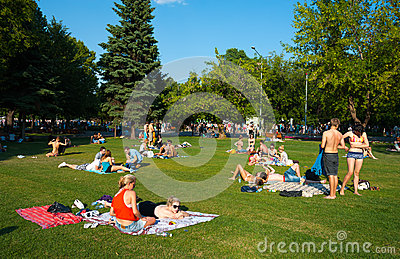 Resting in the Gorky Park Editorial Stock Image