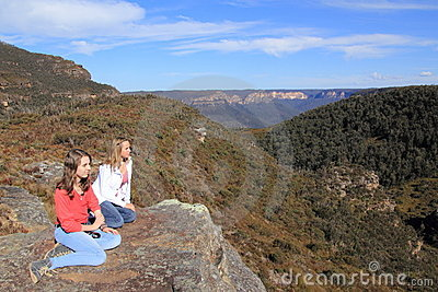Blue Mountains plateau with young women