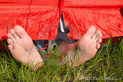 Resting in tent