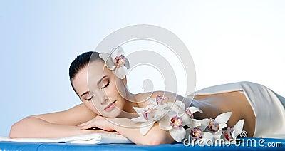 Resting woman in spa salon
