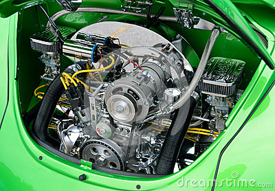 Restored Volkswagen Beetle Engine Editorial Stock Image