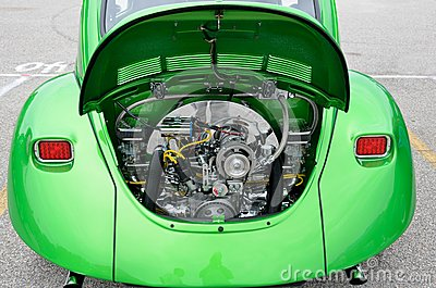 Restored Volkswagen Beetle Engine Editorial Stock Photo