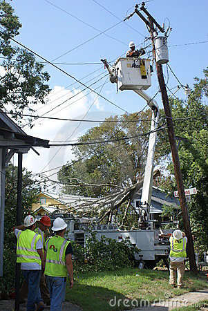 Restoring Power to Baton Rouge Editorial Image