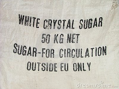 Restriction warning on the sugar bag