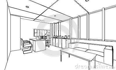 Resuma la perspectiva del dibujo de bosquejo de una for Dibujo de una oficina moderna