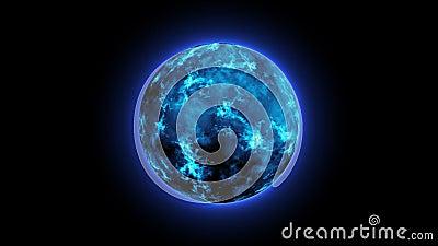 Resumo do movimento 3D 3D de 4K abstrato Energia Plasma Ball Loop, Energy Circle Sphere Ball, Esfera de plasma com cargas de ener video estoque