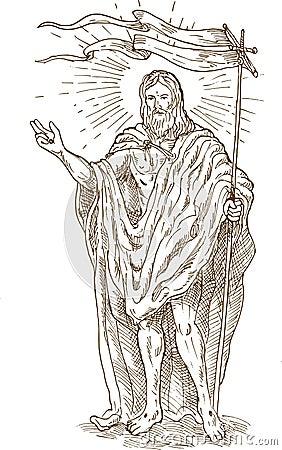Resurrected Jesus Christ stand
