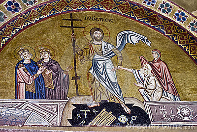 Resurrection of Jesus, 11th century mosaic.