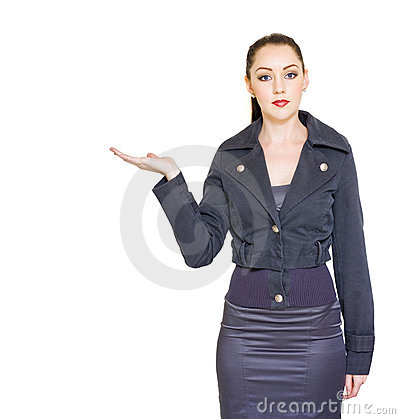 Retail Sale And Marketing Woman Showing Empty Hand