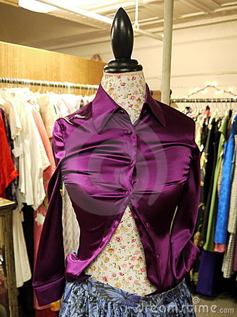 Retail: second hand clothes purple shirt