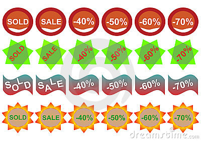 Retail sticker set:Sell and discount
