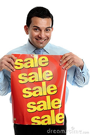Retailer with sale sign