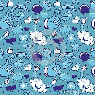 Reticolo senza giunte freddo con le icone sociali di media
