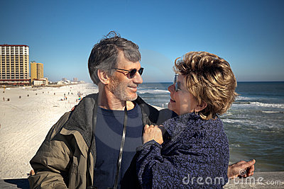 Retired couple on winter vacation