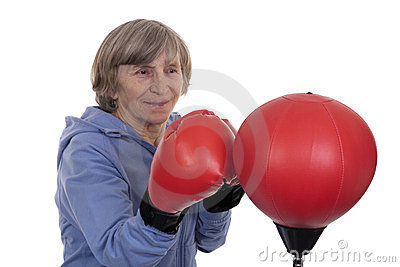 Retired lady boxing