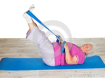 Retired lady doing exercises