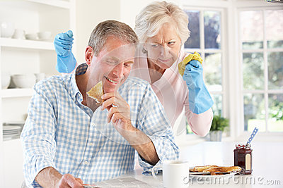 Retired man not helping with housework