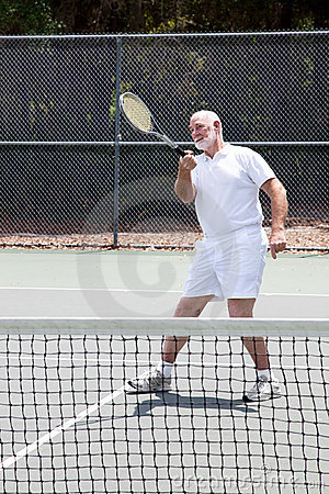 Retired Man Playing Tennis