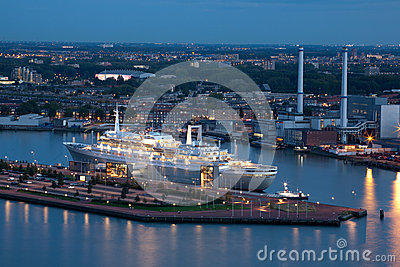 The retired SS Rotterdam cruise ship at night Editorial Photography