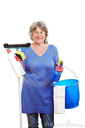 Retired woman with cleaning