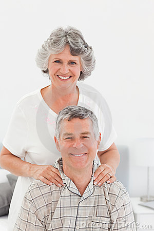 Retired woman giving a massage