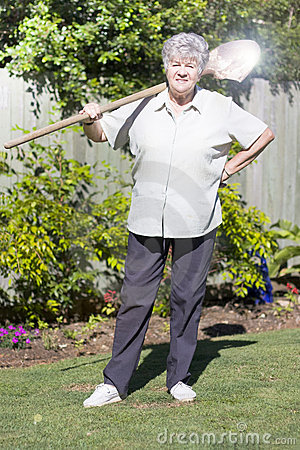 Retired Woman With Shovel