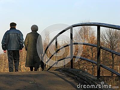 Retirees on bridge