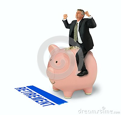 Free Retirement Financial Planning Success Man Riding Piggy Bank Full Of Money Over RETIREMENT Finish Line Royalty Free Stock Photo - 103897365