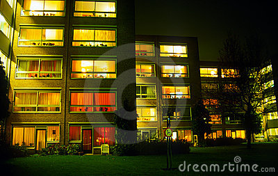 Retirement homes in evening
